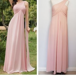 EVER PRETTY pink pleated chiffon one shoulder dres
